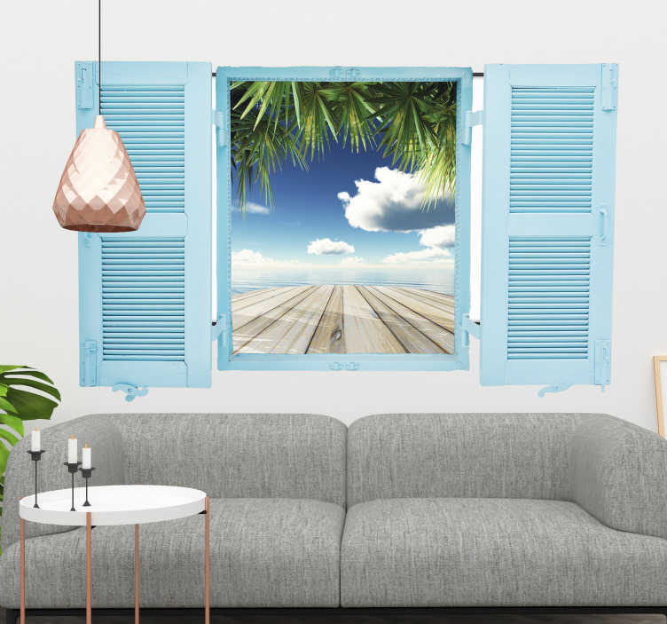 TenVinilo. Vinilo trampantojo ventana personalizable. Vinilos 3D de una ventana azul abierta de par en par cuya imagen central podrás personalizar.