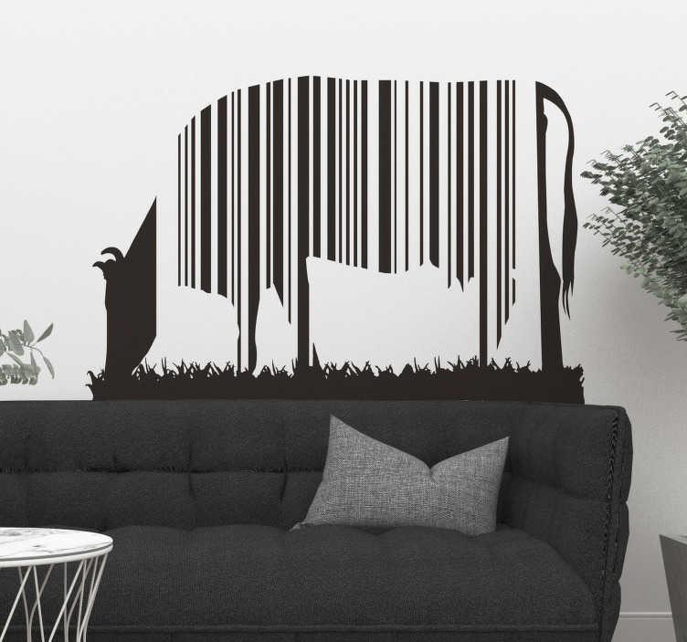 TenVinilo. Vinilo vaca código de barras. Vinilos artísticos con la representación del perfil de una vaca pastando cuyo cuerpo simula un código de líneas.
