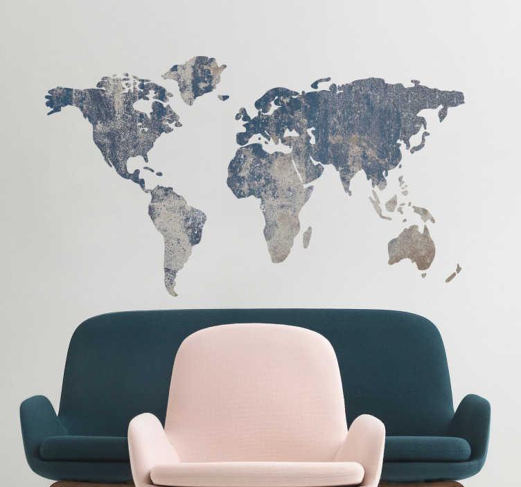 TenVinilo. Vinilo mapamundi textura pared azul. Vinilos decorativos de mapas del mundo con un dibujo de los perfiles de los continentes rellenos de una textura urbana que recrea una pared de hormigón.