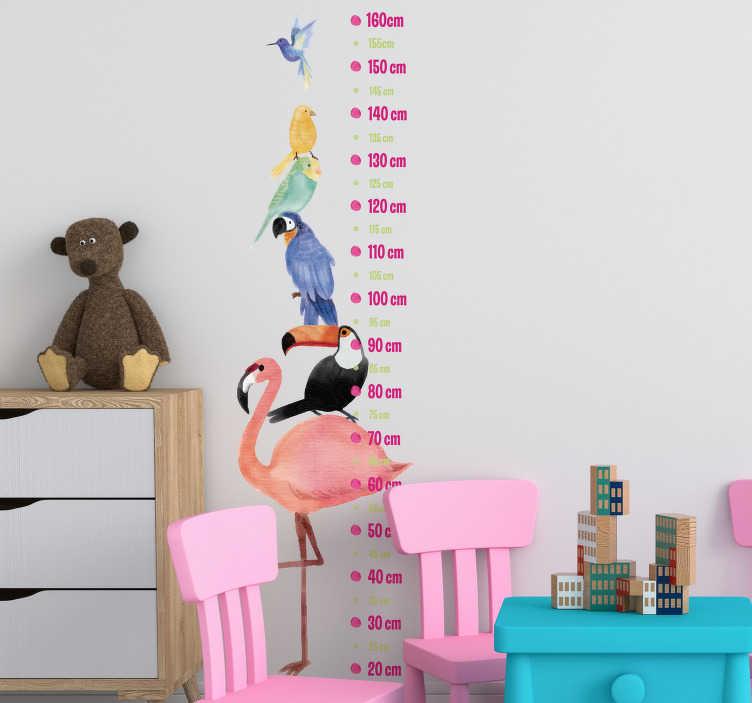 TenStickers. Naklejka na ścianę miarka z egzotycznymi ptakami. Naklejka, przedstawiająca tropikalne ptaki, stojące jeden na drugim z miarą do mierzenia wzrostu obok. Dzięki tej naklejce nie przegapisz żadnej zmiany w wyglądzie Twojego dziecka!