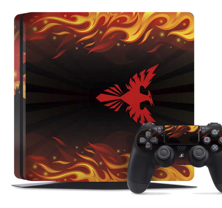 TenStickers. Naklejka na PS4 z motywem feniksa. Oryginalna naklejka na PS4 z motywem feniksa, mitologicznego ptaka, odradzającego się z popiołów. Dekoracja, którą musisz mieć!