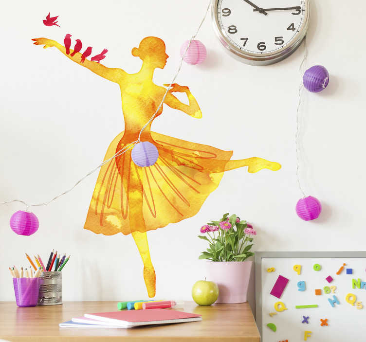 TenStickers. Watercolour Ballerina with Birds Wall Sticker. Beautiful orange watercolour design of a dancing silhouette of a ballerina with multiple red birds sat on her arm. This bird wall sticker is perfect for adding some nature and colour to your home decor and combining it with the lovely art of ballet.