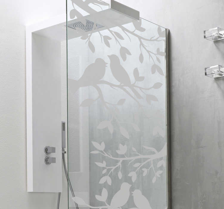TenStickers. Birds Translucent Shower Sticker. Decorate your shower with this fantastic bird themed shower decal! Choose your size.