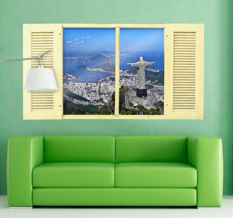 TenStickers. Muursticker Trompe-l'oeil Christus de Verlosser. Geniet elke dag van de beroemde Christus de Verlosser standbeeld in Rio de Janeiro met deze muursticker in Trompe-l'oeil stijl. Afmetingen aanpasbaar.