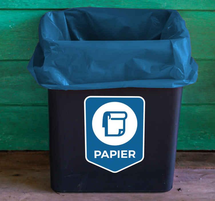 TenStickers. Aufkleber Mülltrennung Papier. Hochwertiger Aufkleber Mülltrennung Papier für Ihren Abfalleimer, Ihre Mülltonne oder den Container. Verleihen Sie Ihrem Mülleimer mit einem Mülltrennungsaufkleber ein originelles Aussehen.