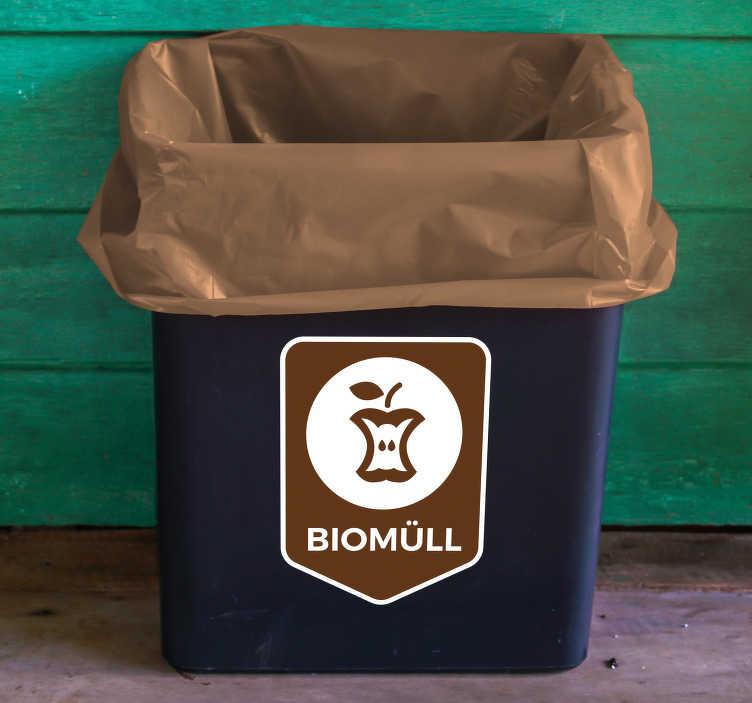 TenStickers. Aufkleber Mülltrennung Biomüll. Hochwertiger Aufkleber Mülltrennung Biomüllfür Ihren Mülleimer, IhreMülltonneoder den Container. Verleihen Sie Ihrem Abfalleimer ein originelles Aussehen mit einem praktischen Mülleimer Aufkleber.