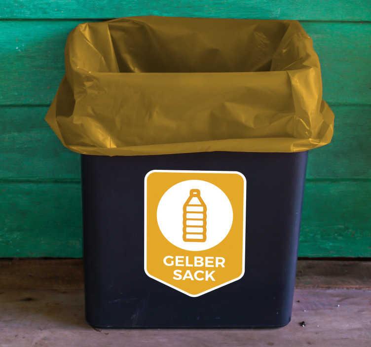 TenStickers. Aufkleber Mülltrennung Gelber Sack. Hochqualitativer Aufkleber MülltrennungGelber Sack für Ihren Abfalleimer. Verleihen Sie Ihrem Mülleimer einen originellen Look mit einem Sticker.