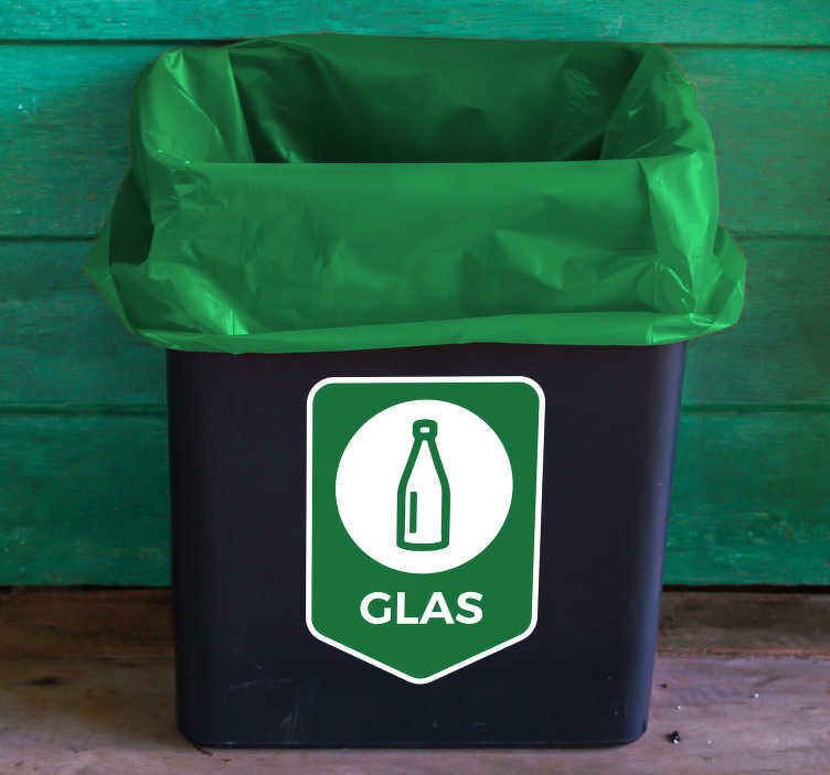 TenStickers. Aufkleber Mülltrennung Glas. Hochwertiger Aufkleber Mülltrennung Glasfür Ihren Abfalleimer, IhreMülltonneoder den Container. Verleihen Sie IhremAbfalleimerein originelles Aussehen und mit einem praktischen Mülleimer Aufkleber.
