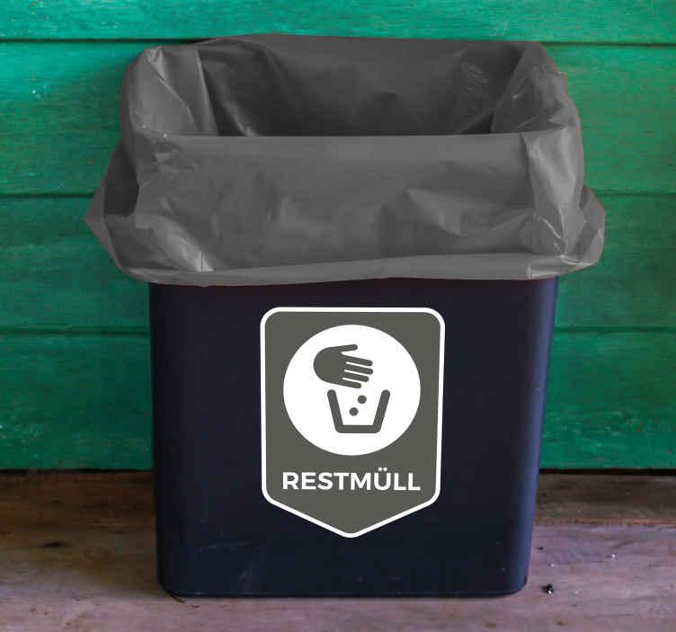 TenStickers. Aufkleber Mülltrennung Restmüll. HochqualitativerAufkleber Mülltrennung Restmüllfür Ihren Abfalleimer, IhreMülltonneoder den Container. Mit unserenMülleimer Aufklebernmuss IhrAbfalleimer nie wiedereintönig aussehen.