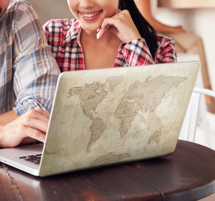TenStickers. Laptop Aufkleber Weltkarte. Laptop Aufkleber - Verleihen Sie Ihrem Laptop mit diesem einzigartigen Sticker einer gezeichneten Weltkarte ein einzigartiges Design.