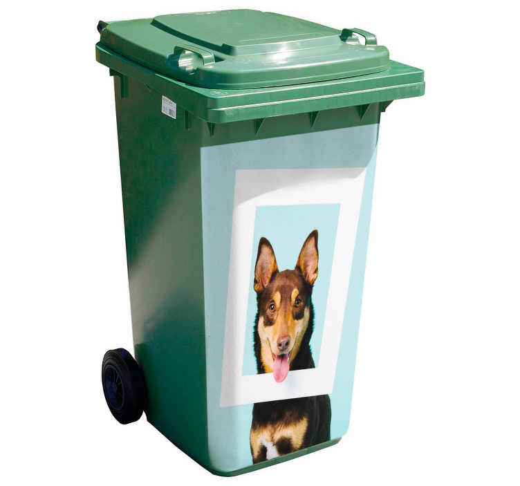 TenStickers. Funny Dog dustbin Sticker. Decorative dustbin recycling container sticker with the design of a funny dog. It is available in any size you want and it application is easy.