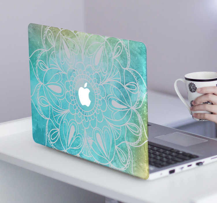 TenStickers. Adesivo para portátil estilo Mandala. Dê uma prenda ao seu computador com este adesivo para portátil com estilo mandala com padrões abstratos e originais de tom azul e amarelo.