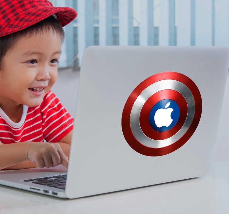 TenStickers. Macbook sticker superheld. Decoreer je Macbook op een originele manier met deze leuke decoratie sticker. De sticker bestaat uit het schild van Captain America en zal zorgen voor een leuk effect of je laptop.
