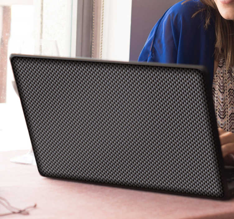 TenStickers. Carbon Fibre Pattern Laptop Sticker. Modern and sleek carbon fibre pattern laptop sticker for personalising your device. This awesome black design gives a professional and futuristic look