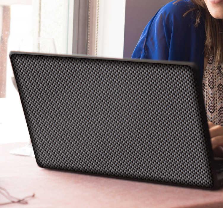 TenStickers. Carbon fiber mønster laptop sticker. Moderne og slank carbon fiber mønster laptop sticker til personliggørelse din enhed. Dette fantastiske sorte design giver et professionelt og futuristisk udseende til din bærbare computer og er sikker på at fange folks øje og gøre det skiller sig ud.