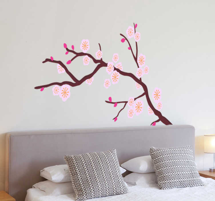 TenStickers. Autocolante decorativo árvore rosa. Autocolante decorativo de uma árvore com flores rosas. Ideal para a decoração da sala ou do decoração do quarto.