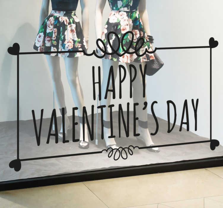 TenStickers. 맞춤형 발렌타인 데이 창 스티커. 맞춤형 - 계절별 맞춤형 비즈니스 스티커 - 발렌타인 데이까지의 리드에 이상적인 디자인. 사랑, 열정 및 로맨스의 날.