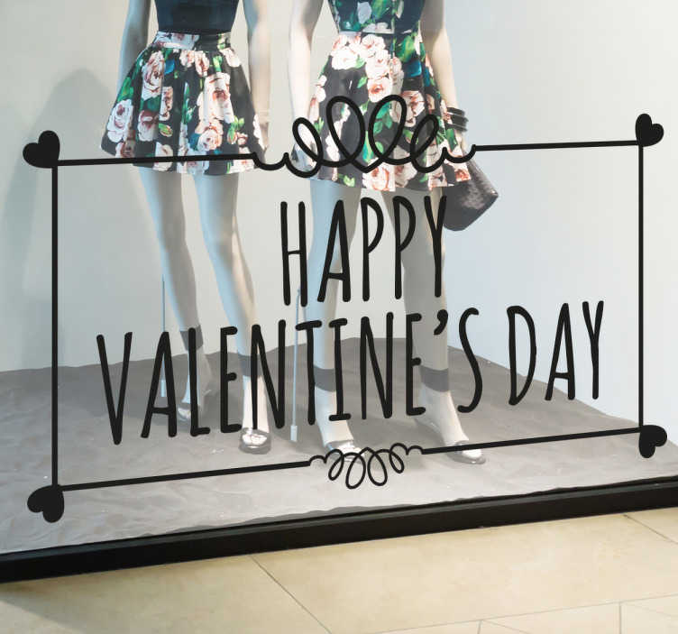 Sticker carte Saint-Valentin coeurs
