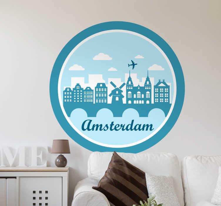"""TenStickers. Naklejka ścienna z znaczkiem amsterdamskim. Naklejka ścienna z bursztynem amsterdam z niebieskimi kolorami, idealna do dekoracji pokoju nastolatka lub salonu. Ta niesamowita naklejka przedstawiająca panoramę stolicy holandii i słowo """"amsterdam"""" w chłodnym czcionki."""