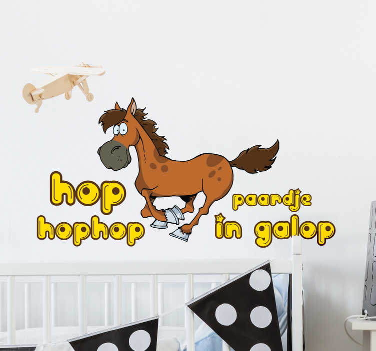 TenStickers. Muursticker paardje in galop. Deze muursticker is perfect voor alle kleine paardenliefhebbers. Deze muurdecoratie is niet alleen geschikt voor op de muur, maar kan ook op meubels.