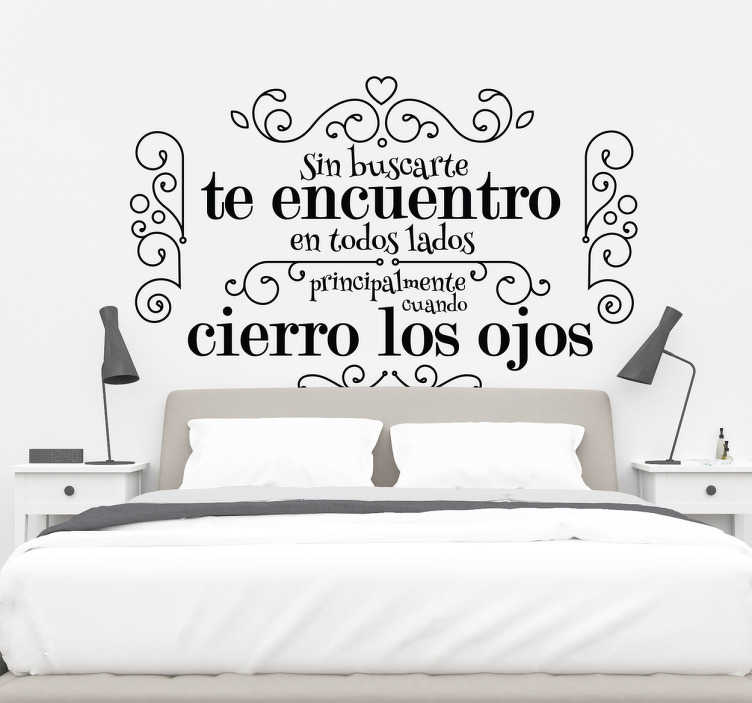 TenStickers. Love phrase for bedroom love wall sticker. Decorative vinyl headboard sticker made with the design of an ornamental flower pattern . We have it in different colors and size options.