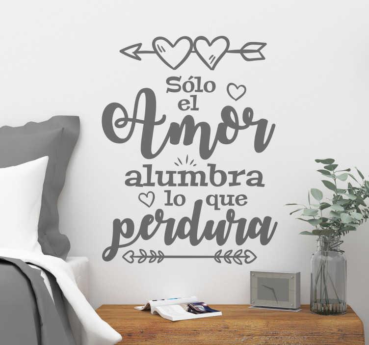 TenVinilo. Vinilo frase romántica para dormitorio. Murales para pared con vinilos de texto exclusivos, para un público enamorado que desee decorar su salón o dormitorio.
