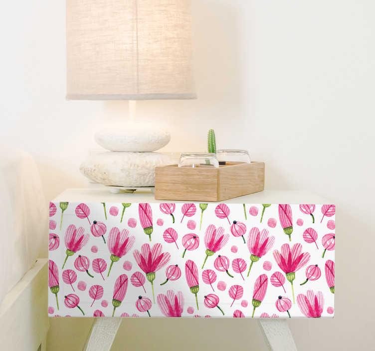 TENSTICKERS. ピンクの花の家具のステッカー. フラワーウォールスティッカーのコレクションからこの華やかなピンクの漫画の花のパターンであなたの家具を飾る。この素敵な家具デカールは、あなたの家で素敵な雰囲気を作り出すために、白い背景に複数の異なる花の芽を示しています。