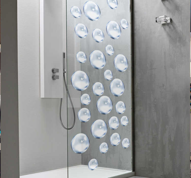 TenStickers. Water Bubble Shower Sticker. Decorate your shower with an elegant and modern water bubble sticker. Add a personal touch to the bathroom with our stylish bathroom decals.