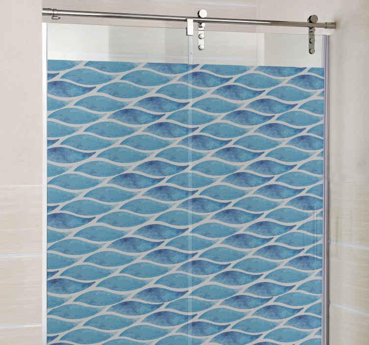 TenStickers. Douchedeur sticker vissen badkamer. Decoreer de badkamer op een toepasselijke manier met deze vissen douchedeur sticker Deze decoratie sticker met vissen is gekleurd in een doorlopende mix van blauw.