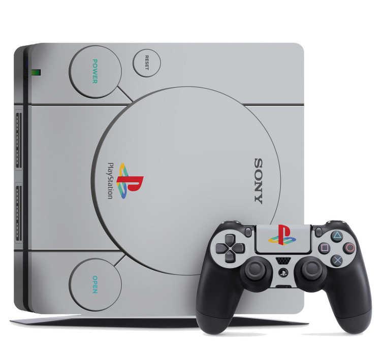 TenStickers. Sticker Ps4 Playstation 1 Retro. Un skin pour ps4 lui donnant l'aspect d'une Playstation 1 Vous êtes nostalgique de votre première console? Vous préfériez le design de la première génération de la Ps, plus original? Ou vous êtes tout simplement fan d'objets aux allures rétro? Alors ce sticker à tout pour vous plaire.