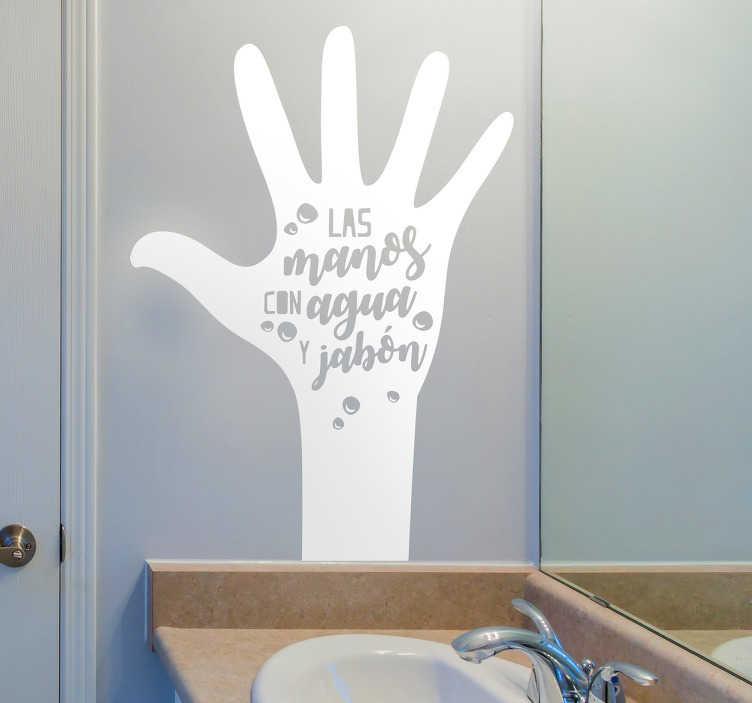 """TenVinilo. Vinilos para baño infantil. Vinilo normas de casa con el dibujo del perfil de una mano abierta y dentro la frase """"las manos con aguja y jabón""""."""