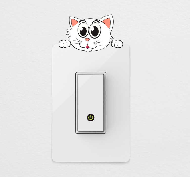 TenStickers. Hanging Cat Light Switch Sticker. Fun cat light switch sticker design for adding some creativity to even the most mundane parts of your home. Cute cartoon design of a smiling white cat hanging from a light switch or plug socket and peaking his head over the top.
