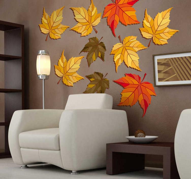 TenVinilo. Vinilo decorativos hojas otoño. Las hojas caen de los árboles y dejan a su paso una estampa encantadora. Si te gusta esta estación del año adorna tu salón con un singular adhesivo.