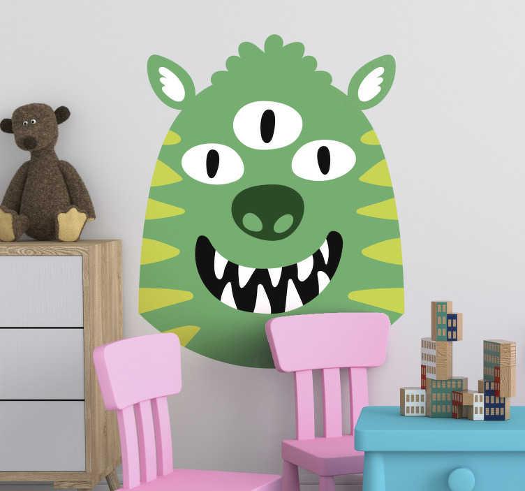 TenStickers. Muursticker blij monster. De muursticker bestaat uit een groen monster met een grote glimlach en 3 ogen. Dit leuke vrolijke design zorgt voor een gezellige en kleurrijke sfeer in de kinderkamer.