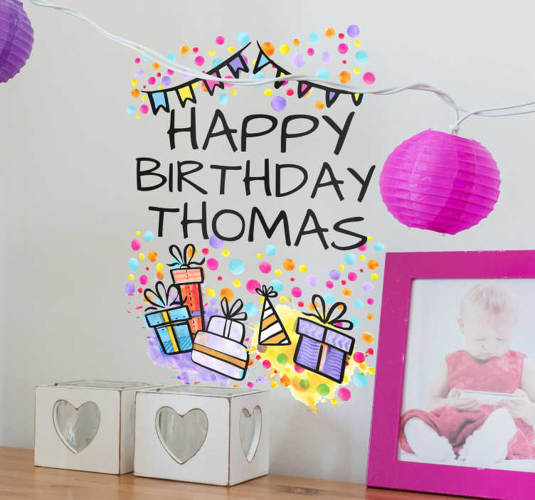 TenStickers. Happy Birthday Name Wall Sticker. Personalised Happy Birthday Wall Sticker for creating the perfect atmosphere at your birthday party or in your child's bedroom on the big day.