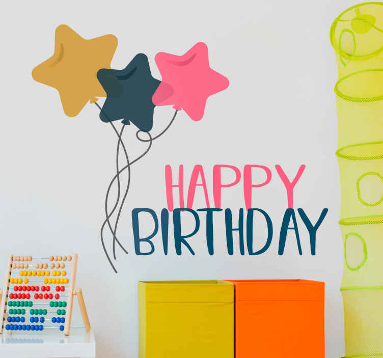 TenStickers. Happy Birthday Stars Sticker. Colourful happy birthday wall sticker for decorating the walls for a birthday party or simply surprising someone on their special day.