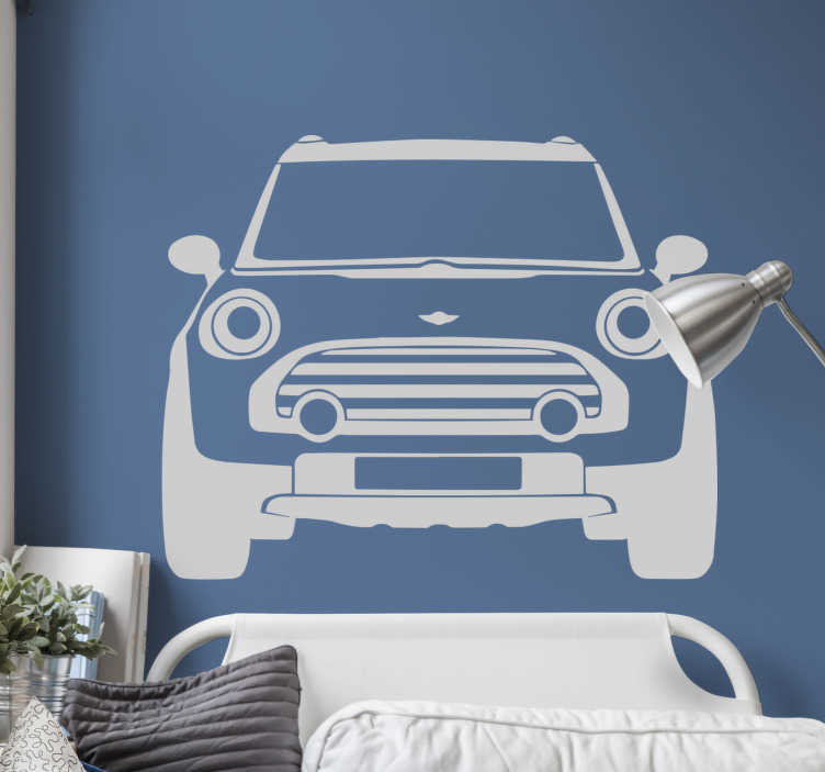 TenStickers. Mini Cooper Wall Sticker. Awesome monochrome car wall sticker of the iconic Mini Cooper. This vehicle wall sticker is applicable to any flat surface.