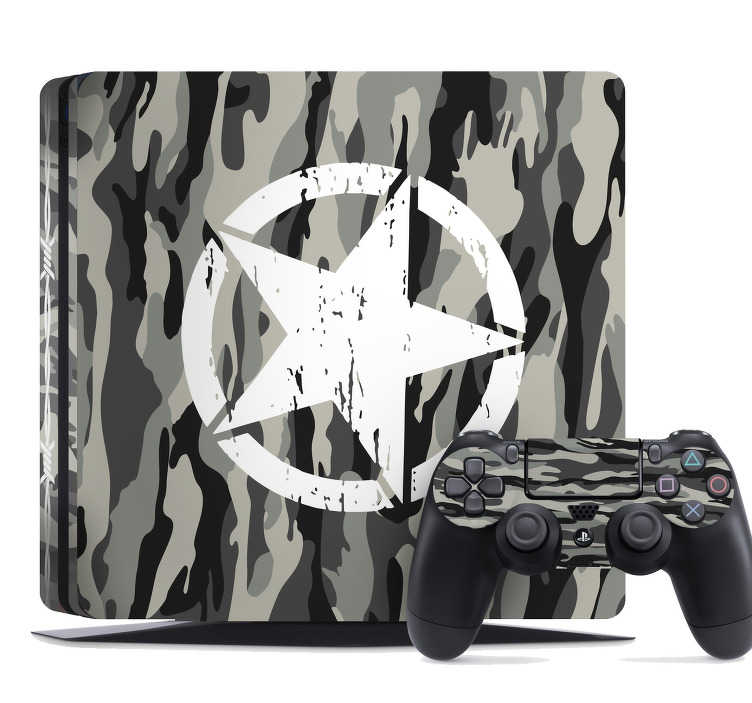 TenStickers. PS4 Klebefolie Camouflage. Die PS4 Klebefolie sorgt für das perfekte Ambiente und lädt jeden Besucher zum Spielen ein. Dieser PS4 Aufkleber ist das perfekte Design für die Gamer unter euch die am Liebsten Kriegsspiele spielen.