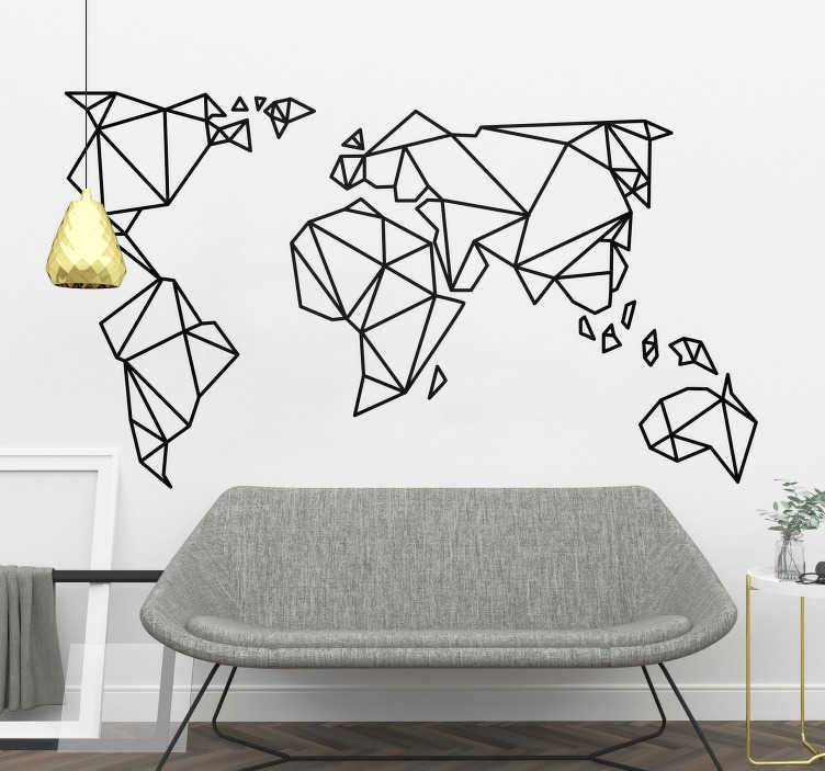 TenStickers. Origami World Map Wall Sticker. Fantastic origami world map wall sticker design to decorate your bedroom, living room or teen's room and show off your love of travel in a cool and unique way. This modern geometric wall sticker is perfect for personalising your walls in a way that goes against the norms.