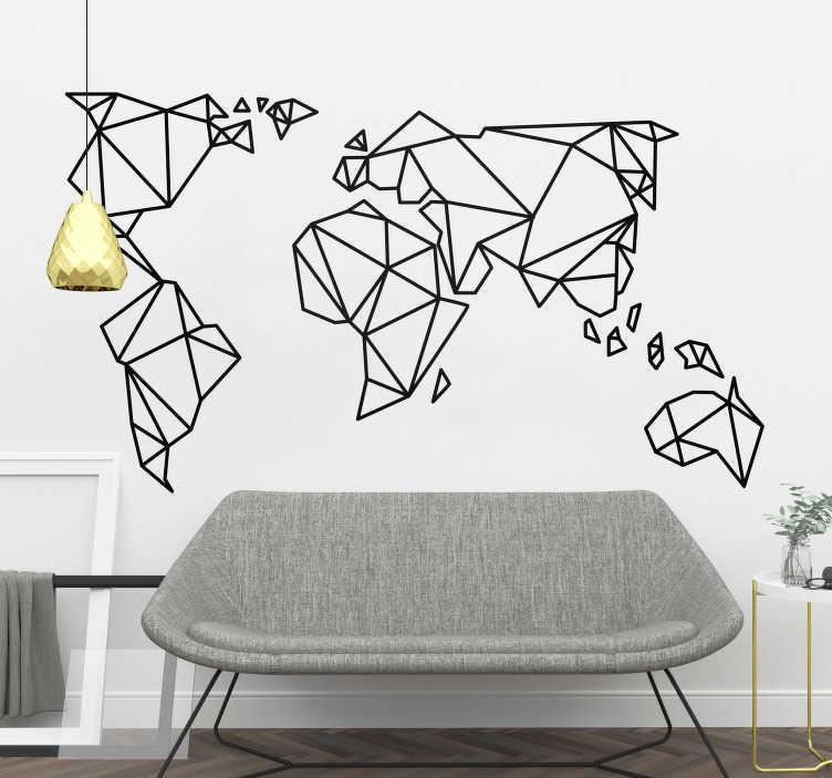 TenStickers. Sticker planisphère géométrique. Sticker représentant une carte du monde sous forme de lignes géométriques. Vous pourrez grâce à ce sticker apporter une touche élégante et raffinée à votre intérieur, que vous le placiez dans votre salon, votre chambre ou celle de vos enfants. Un aspect origami particulièrement tendance en ce moment