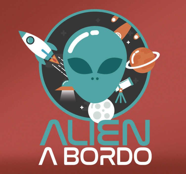 TenVinilo. Vinilo alien a bordo. Pegatinas para coche originales con la que podrás indicar que tu pequeño monstruito venido del espacio viaja contigo.