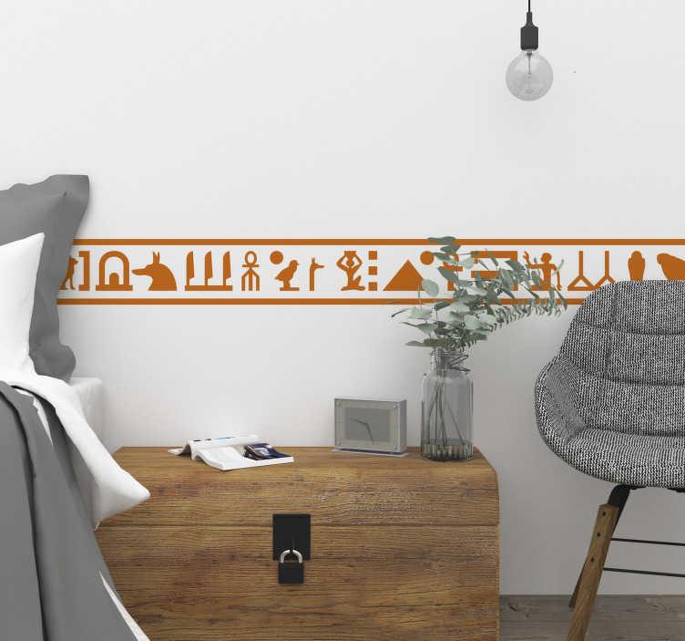 TenStickers. Ägyptische Hieroglyphen Bordüre. Bordüre von Hieroglyphen mit denen Sie die Wände Ihres Zuhauses verschönern können Der elegante und moderne Bordüren Aufkleber eignet sich insbesondere für Fans des Alten Ägypten, die ein großes Interesse an Pharaonen und Göttern zeigen