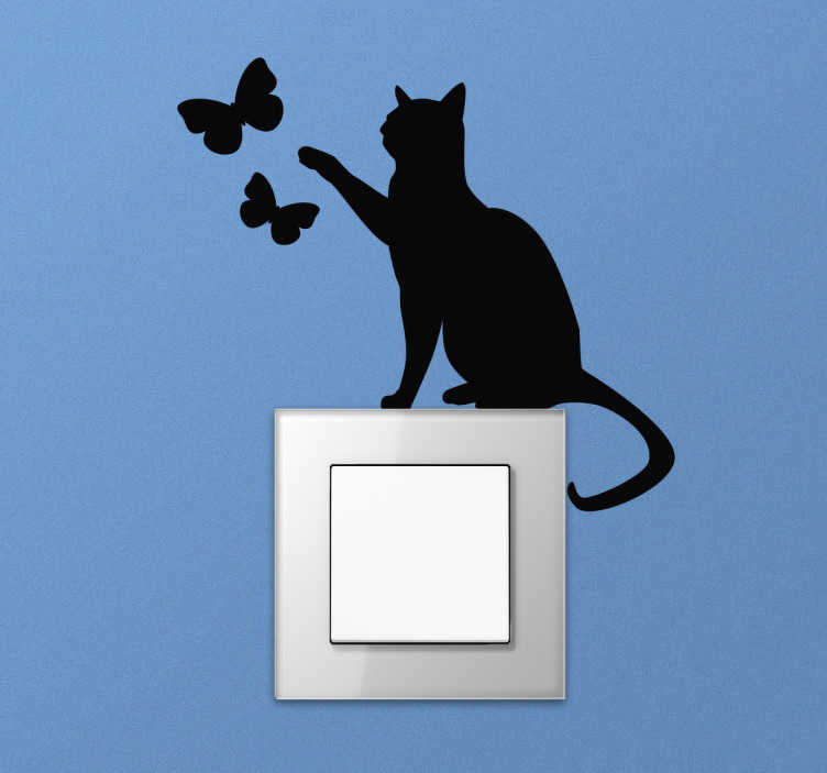 TenStickers. Cat with Butterflies Light Switch Sticker. Cute cat light switch wall sticker showing a silhouette of a cat trying to catch some butterflies. This fun animal wall sticker is perfect for decorating your light switches or plug sockets at home to provide a personal and unique touch to even the smallest parts of your home decor.