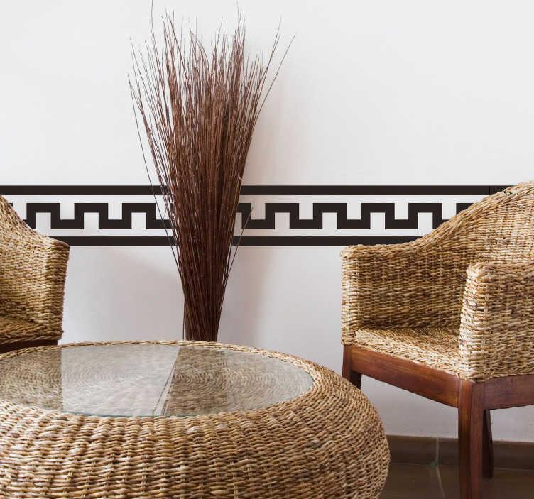 TenStickers. Naklejka na granicy egipskiej. Nasza egipska naklejka na granicy w nowoczesnym i eleganckim wyglądzie nada twojemu salonowi lub sypialni wyjątkowy wygląd. Za pośrednictwem naszej naklejki granicznej twoje ściany przyjmą wygląd wnętrza piramidy.