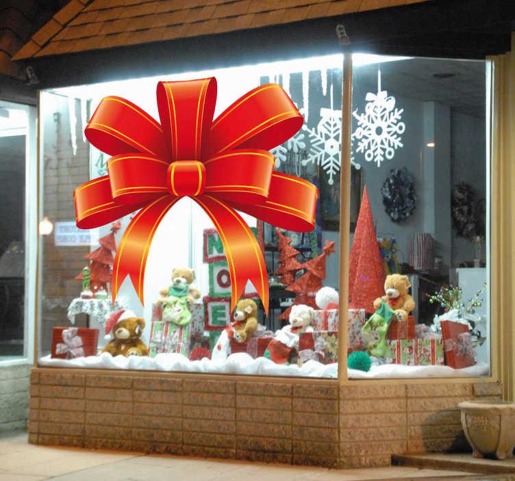 TenStickers. Julestickers kæmpe sløjfe. Dette jule klistermærker med motiv af en kæmpe sløjfe er ideelle til dekorationen af din butik.