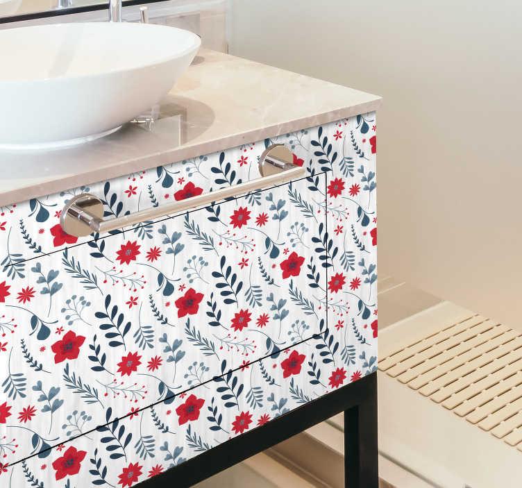 TenStickers. Meble łazienkowe kwiat naklejki. Przynieś kwiatową i szczęśliwą nutę do łazienki dzięki naklejce z kwiatkiem. Klej składa się z wzoru pełnego kwiatów w białych, czerwonych i zielonych kolorach.