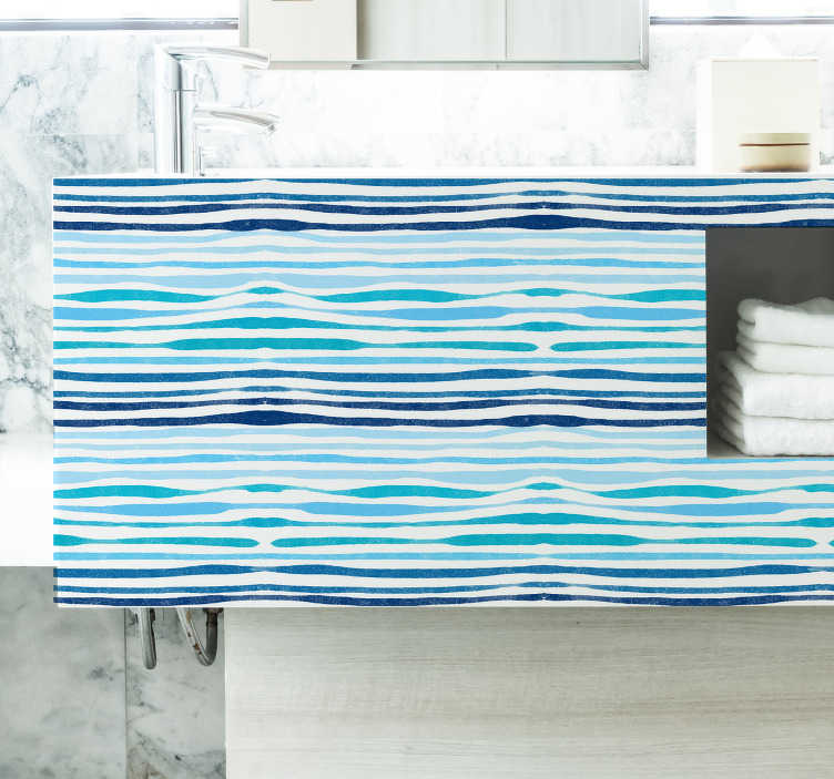 TenStickers. Naklejka na meble niebieskie linie. Naklejka na meble i inne powierzchnie w Twoim domu, przedstawiająca prosty i klastyczny wzór prostych poziomych linii w odcieniach niebieskiego. Dodaj morski akcent do swojego mieszkania z tą niesamowitą naklejką!