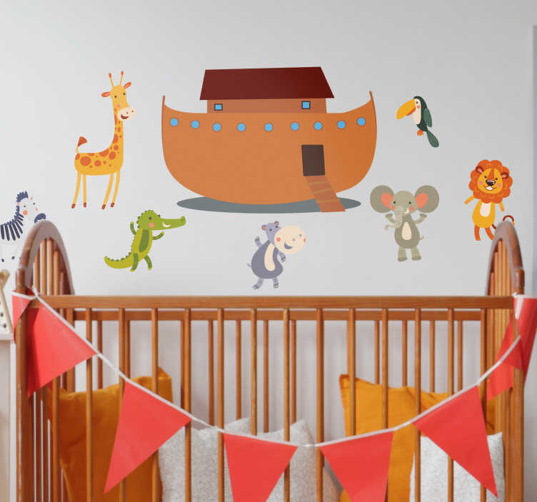 TenStickers. Ark van Noach muursticker. De muursticker bestaat uit de ark van de Ark van Noach en verschillende dieren die mee willen. Op de muurdecoratie vindt u onder andere een giraffe, muis, krokodil en leeuw.