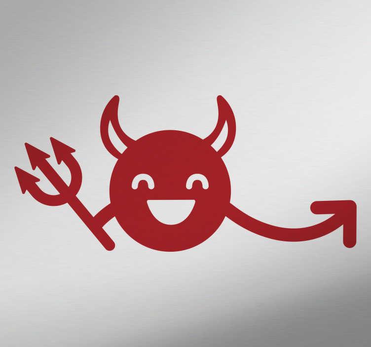 TenStickers. Wandtattoo lachender Teufel. Wandtattoo mit der Zeichnung eines lustigen Teufels mit charakteristischen Teufelshörnern, Dreizack und verlängertem Schwanz. Reise in die Unterwelt, verwandle dein Fahrzeug in einen Wagen aus der Hölle mit einem originellen Autoaufkleber.