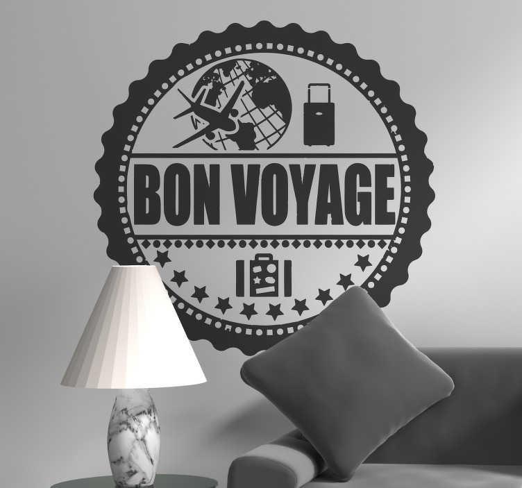 """TenStickers. Wandtattoo Briefmarke Bon Voyage. Schönes Wandtatoo einer Briefmarke zum Thema Reisen. Das originelle Briefmarken Wandtattoo mit dem Schriftzug """"Bon Voyage"""" enthält tolle Designs von Koffern, eines Flugzeugs und der Weltkugel."""